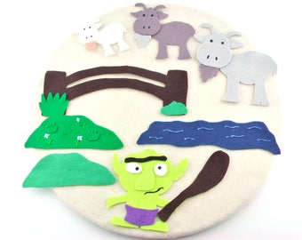 Librarian Gift, Three Billy Goats, Learning Toys, Kindergarten, Librarian Felt Board Stories,  Flannel Board Story, Felt Story, Troll Toys