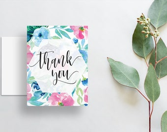 Watercolor Floral Thank You Cards / Blue Pink Green Watercolor Floral / Calligraphy / Thank You Notes / Printed Folded Thank You Cards