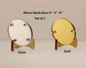 """2 Large Gold Or Silver Mirror Circles - Mirrored Blanks For Vinyl - Mirror Circle Blank 4 Inch 5"""" To 6 Inch - Laser Cut Acrylic Circles BL29"""