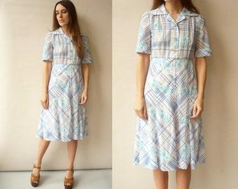 SALE 1970's Vintage Floral & Check Print Midi Tea Dress Size XS