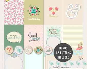 Spring Journal Cards - Instant Download - Printable journaling cards for Project Life and digital scrapbooking