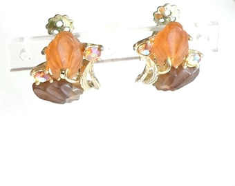 Earrings butterscotch amber Lucite AB rhinestones flower Clip on  vintage