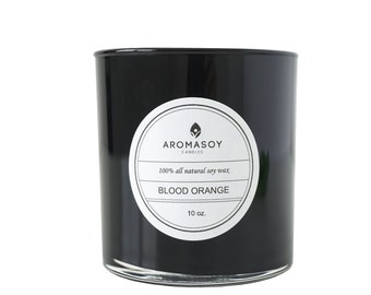 BLOOD ORANGE Soy Candle / Citrus Candle / Blood Orange / Home / Gift Idea / Minimalist / Black Decor / Handmade / Mothers Day