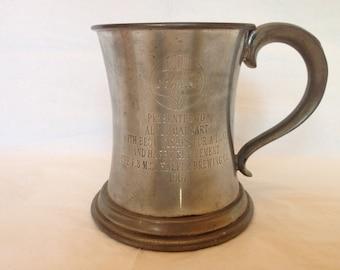 1967 Schaefer Beer Pewter Stein/Mug ~ F. & M. Schaefer Brewing Company ~ Adolf Harbart