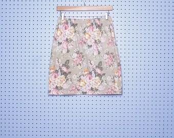 Vintage FLORAL STRETCH High Waisted Mini Skirt