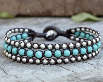 Turquoise Layer Silver Triple Bracelet