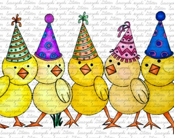 Party Chooks digital Stamps by Sasayaki Glitter line art only