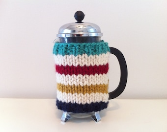 French Press Cozy, French Press Cover, Handknit Bodum Cosy, Striped Coffee Press Cover, Coffee Cosy in Cream, Red, Navy, Yellow and Green