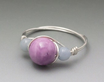 Phosphosiderite & Angelite Sterling Silver Wire Wrapped Gemstone Bead Ring - Made to Order, Ships Fast!