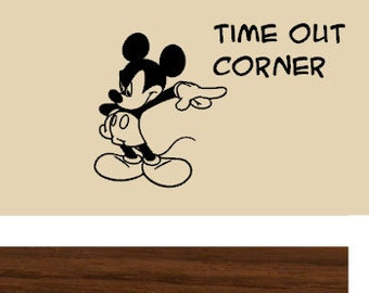 TIME OUT Corner Mickey Vinyl Wall Art - Small Size Vinyl Graphic