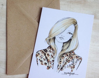 Kate Moss- Fashion Illustration- Notecard