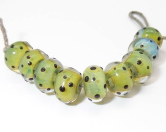 Olive Rondelle Handmade Lampwork Glass Beads - Prima Donna Beads