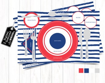 Etiquette Placemat Patriotic | Table Setting Diagram for Family | Nautical Manners Placemat | INSTANT Download 11x17 JPG