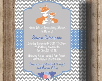FOX BABY SHOWER Invitation for Boys/Woodland Animals/ Fall Forest Animal Baby Shower Invitation/ Gray Chevron Printable File