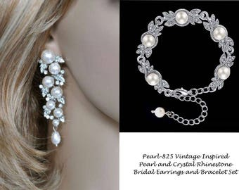 Vintage Inspired Pearl and Crystal Rhinestone Earrings and Bracelet Set, Bridal, Wedding (Pearl-825)