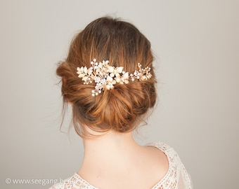 Bridal Hair Jewelry,  Vintage Wedding, Woodland Wedding, Boho Bride, Fern Headpiece, rhinestone comb, Hair Accessories, Bridal Hair Comb