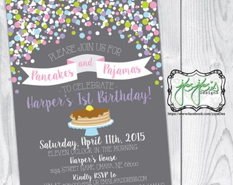 Waffles and pajamas birthday party invitations brunch polka dots and banner pancakes and pajamas birthday party invitation digital file filmwisefo