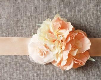 Bridal Peach Flower Sash Belt - Vintage Inspired Wedding Dress Sashes Belts - Posh Double Side Ribbon Belt