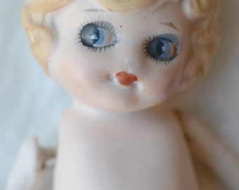 Amazing Adorable Vintage Made In Japan Bisque Kewpie Style Porcelain Vintage Doll Googly Eyed Doll