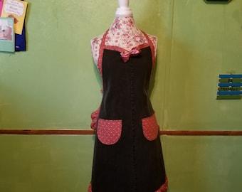 black denim apron