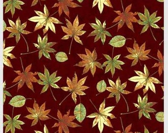 Shades of Autumn Falling Leaves on Burgundy 446-D from P & B by the yard
