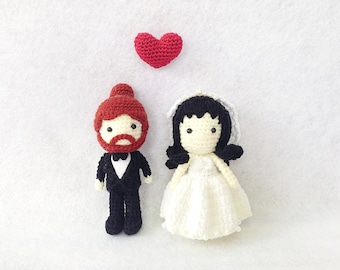 Wedding Cake Topper - Crochet Character Bride and Groom - Cake Topper - Crochet Cake Topper - Wedding gift, Personalized Wedding Doll