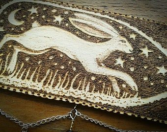 Running Hare Wooden Hanging Art. Pyrography on Beech Wood with Bead and Charm Decoration.
