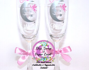 Personalized baptism champagne flutes