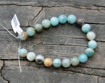 Black-Gold Amazonite 10mm Round beads 8 inch strand