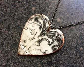 Valentine Gift RUSTIC HEART - Valentine Heart Metal Pendant, Embossed Pendant, Organic Jewelry, Repurposed Jewelry, Heart Pendant, Big Heart