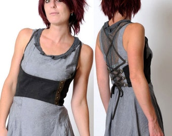 Grey underbust belt, Steampunk bustier with lace-up at back and studded stripe - grey and army green cotton - size S, MALAM