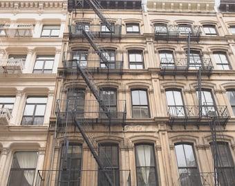 New York City photography, NYC art, Soho, nyc architecture, loft decor, fire escapes, apartment industrial cream decor, mocha, - Soho Mocha