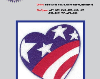 American Flag Heart Embroidery Files, Available in every format