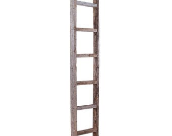 Blanket Ladder, Decorative Ladder, Towel Ladder, Wood Ladder, Rustic Ladder, Wooden Ladder, Quilt Ladder, Ladder Shelf-Weathered Gray