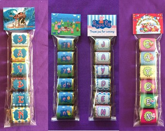 Peppa Pig, Shopkins,Moana - Personalized Hershey Nuggets labels + bags + toppers, Party Favors (good for 10 sets of favors)