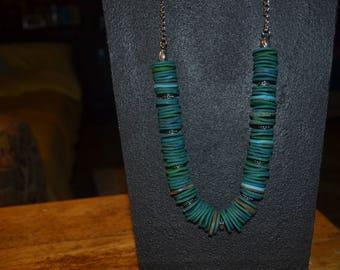 Multi blue disc necklace
