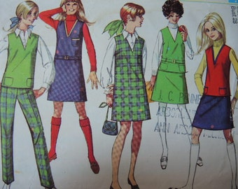 vintage 1960s simplicity sewing pattern 7828 Junior/Teen jumper top skirt or pants size 5/6