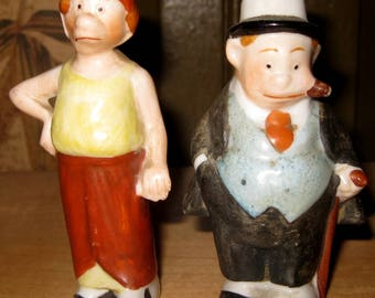 Antique Maggie and Jiggs, Bringing Up Father Salt & Pepper Shakers