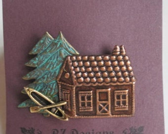 Up North Cabin with Canoe and Tree Brooch - BZ Designs Original