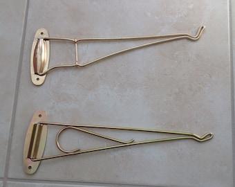 Vintage Metal Wall Mount Swing Hooks / Set of 2 Metal Wall Swing Hooks