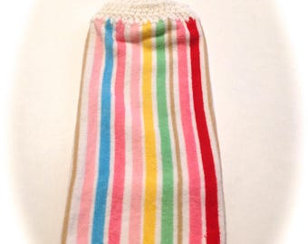 Striped Hand Towel With White Crocheted Top