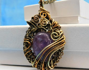 Amethyst Pendant February Birthstone Artisan Crafted Artistic Handmade Woven Wire Unique Wire Wrap Gift for Her Girlfriend Wife Mom Daughter