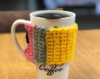 Crochet pencil mug cozy.
