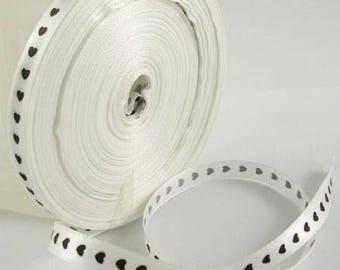 50 meters of hearts white satin ribbon Black 10 mm