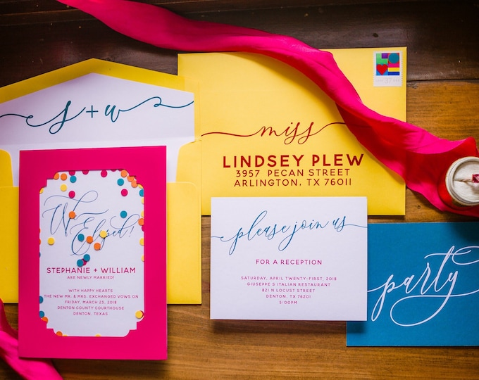 Bright Colors Elopement Wedding Invitation Announcement with Confetti in Hot Pink, Yellow, Turquoise & Orange - Different Colors Available!
