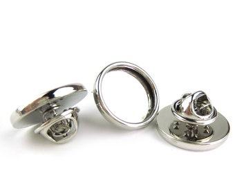Bezel Tie Tack, Round 15mm Silver, Set of 6