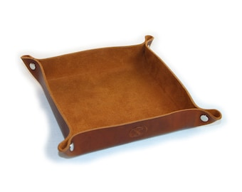 Leather Valet Tray - Saddle Brown - Custom Personalizing Available