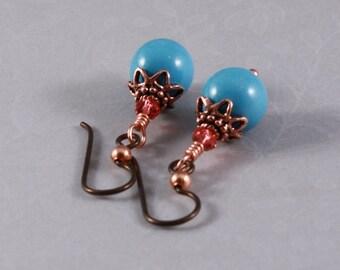 Dark copper Niobium, bright copper, Swarovski Turquoise, Swarovski Padparadscha : Joyful