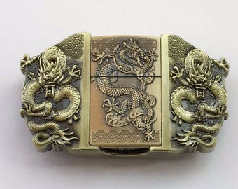 Dragon 3D and lighter embedded metal belt buckle