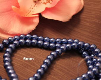 Set of 50 6mm blue - creating jewelry - pearls